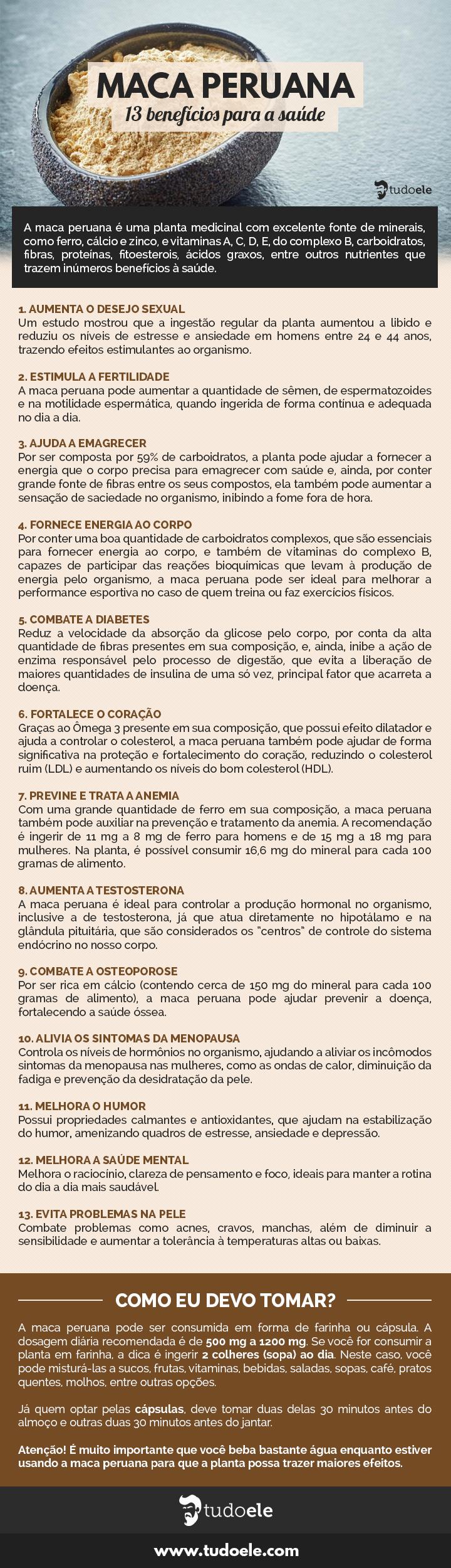 Maca Peruana Infográfico: 13 benefícios para a saúde